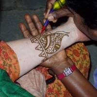 Design in henna on Elizabeth's arm