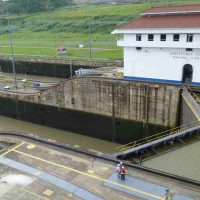 Miraflores Lock - note the water levels that must be equalized